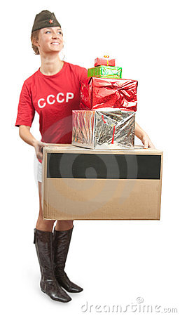Girl in overseas cap with coloured shopping bags