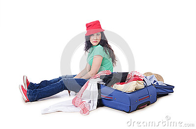 Girl packing for travel