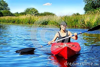 Girl with paddle and kayak 4