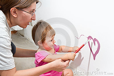 girl paint on a board
