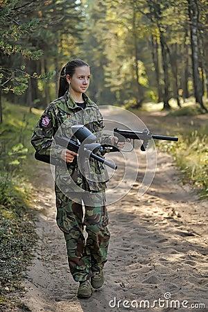 hot girl with paintball guns