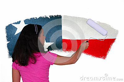 Girl Painting Flag