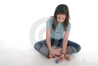 Girl Painting Her Fingernails