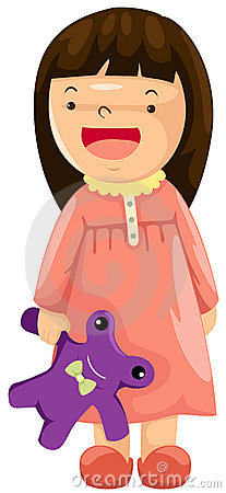 Girl in pajamas with toy