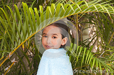 Girl in palm-tree