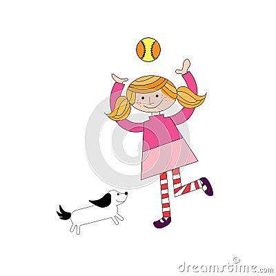Girl palying with ball and pet