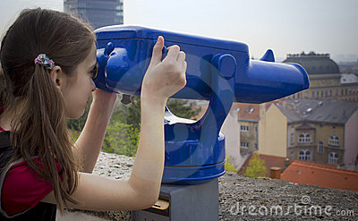 Girl with a panorama telescope