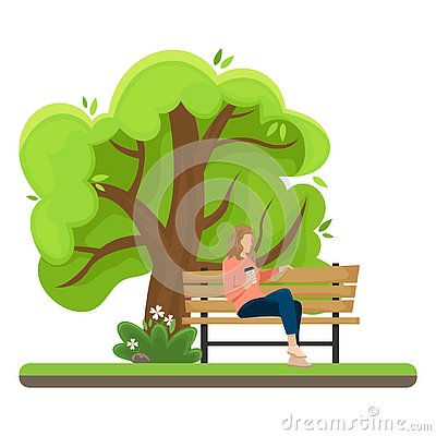 The girl with the paper Cup of coffee sitting on a bench in the Park. Flat vector illustration Vector Illustration