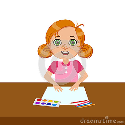 Girl With Paper, Paint And Brush, Elementary School Art Class Vector Illustration Vector Illustration