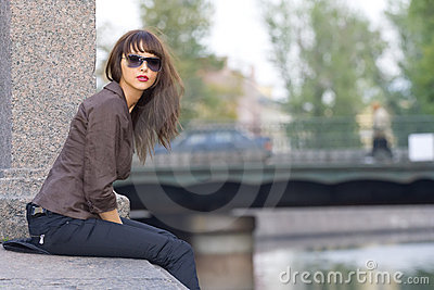 Girl on a parapet
