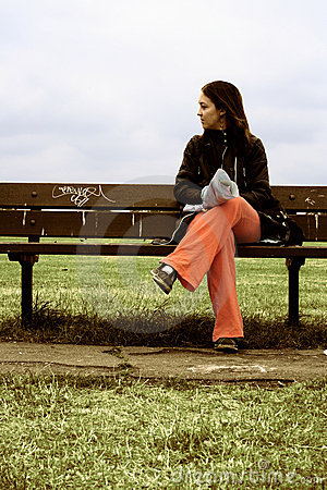 Girl on a park bench - sally