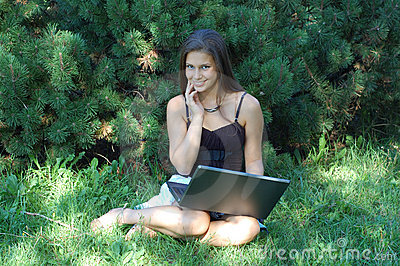 Girl in Park with Laptop