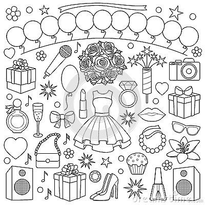 Free Girl Party Doodle Set Stock Images - 87494334