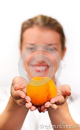 Girl with peach