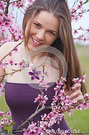 Girl in peach garden