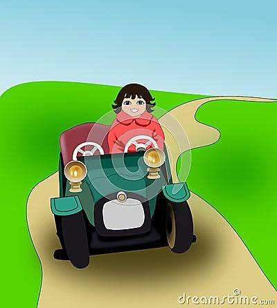 Girl in pedal car.