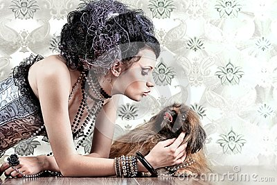Girl with pekingese