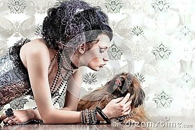 Girl with pekingese