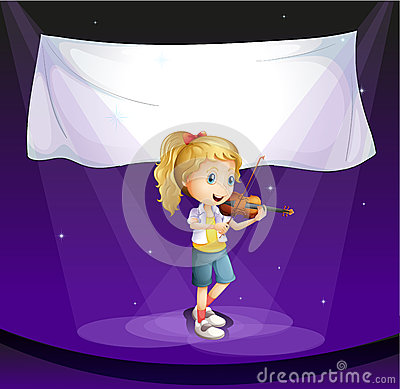 girl performing at stage with an empty banner