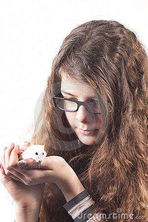 Girl With Pet Hamster Mouse Stock Photography Image