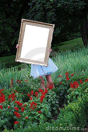 Girl with a photo frame
