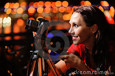 Girl-photographer with camera