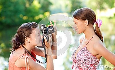 Girl photographer shoot model