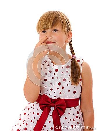Girl picking nose