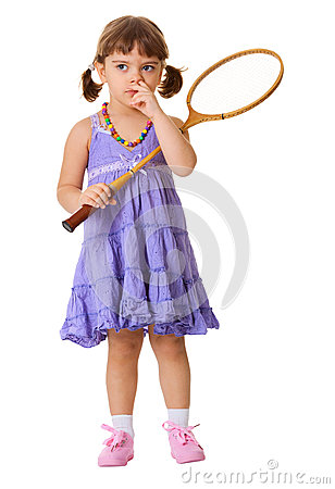 Girl picks his nose, instead of playing badminton