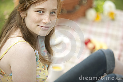 Girl with Picnic Blanket