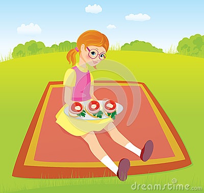 Girl on picnic and sandwiches
