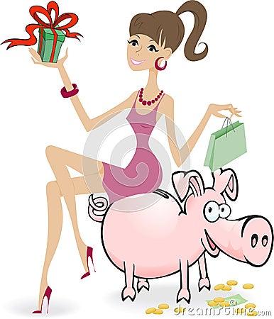 Girl on the piggy bank