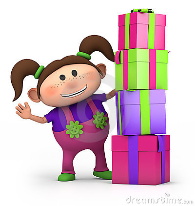 Girl with pile of presents