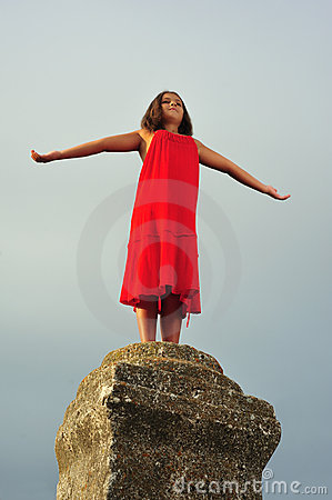 Girl on pillar column