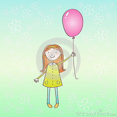 Girl with pink ballon