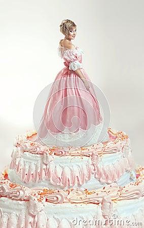 Girl and pink cake