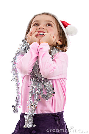 Girl in pink Christmas magic