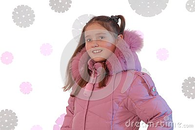 Girl is in pink down-padded coat
