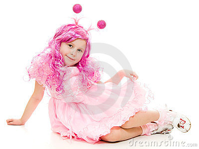 A girl with pink hair in a pink dress