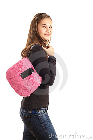 Girl with pink handbag