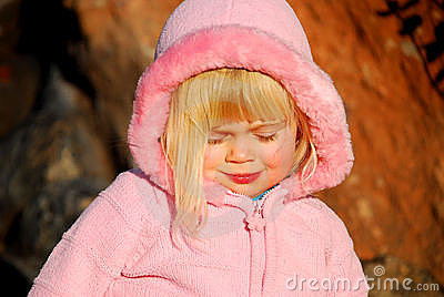 Girl with pink jacket