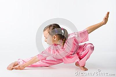 Girl in a pink kimono