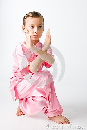 Girl in a pink kimono