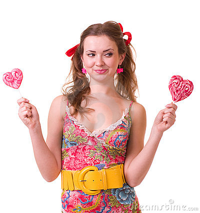 Girl with pink spiral lollipops