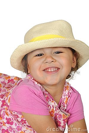 Girl in pink with straw hat