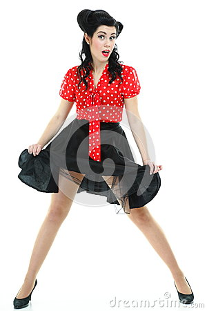 girl with pinup make up and hairstyle posing