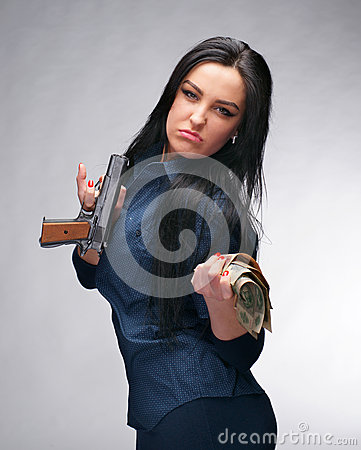 Girl with pistol and money