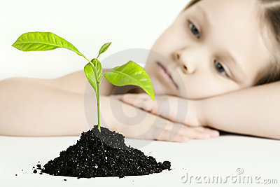 The girl and plant