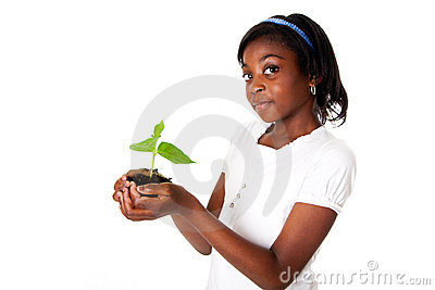 Girl with plant in hand
