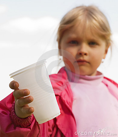 Girl with a plastic cup
